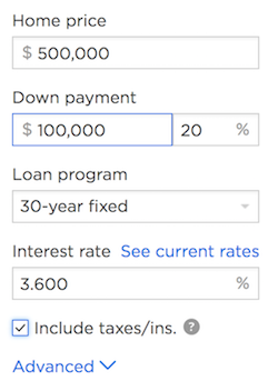zillow mortgage calculator
